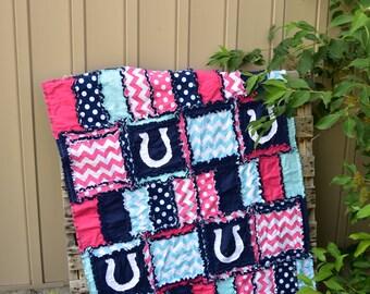 Horse Duvet Cover Modern Nursery - Horse Quilt Farm Crib Bedding - Pink / Navy / Turquoise Quilt - Girl Baby Bedding
