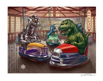 Road Rage  8 x 10 Signed Print -Godzilla, Mechagodzilla and Gigan ride in bumper cars