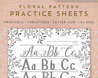Printable Letter and Calligraphy 7 Practice Sheets + Worksheets for Adults, Kids, and Toddlers Letter Size/A4Size- Floral Pattern
