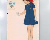 1960s Vintage Childs Sewing Pattern Vogue 7198 Girls Military Style Front Button Dress Size 12 Waist 25 60s
