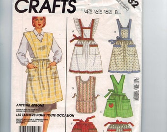 1980s Craft Sewing Pattern McCalls 2132 Misses Anytime Aprons Half Full Hostess with Pockets Ruffles UNCUT