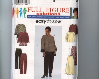 Womens Sewing Pattern Simplicity 8385 Easy Tunic Pants Skirt Top Plus Size 18W-24W UNCUT