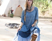 New! TWIG URBAN TOP - Loose Baggy Tank Over size Plus size Hipster Hippie Boho Tunic Dress Burning man One size - Blue