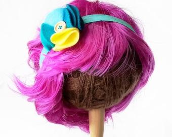 Felt Flower - HEADBAND - Sailboat - Elastic headband, felt flower, wooden button, festival headband, photo prop - blue, aqua, yellow