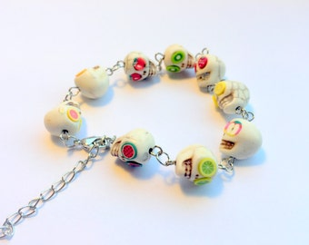 Summer Fruit Salad Day of the Dead Sugar Skull Adjustable Chain Bracelet