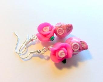 Sugar Skull Earrings Dia De Los Muertos Pink Rose Skull Earrings
