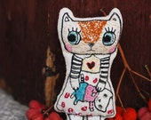 Cat plush doll, Embroidered soft doll, Stitched art doll, Embroidery art doll, Stuffed fabric cat, Stuffed pet animal, Hand embroidered doll