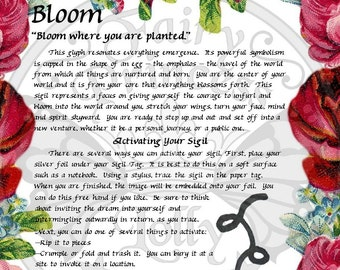 Faery BLOOM Glyph SIGIL, Instant Download Page Urban An Leabhar Book of Secrets, Glamerie Pages, BOS