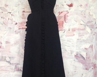 Long Black Ruffle 70s Party Dress Deep V Neck Backless