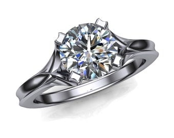 Diamond Engagement Ring, Round Cut 1 Carat, Architectural Setting
