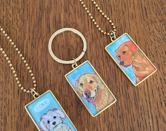 Golden retriever necklace or key chain, maltipoo, maltese, yellow lab necklace pendant key fob, dog breed jewelry,