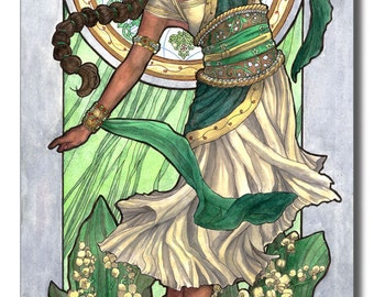Art Print Lady of May Flower Queen Dancer Lily of the Valley and Mucha Inspired Emerald Birthstone and Birth Flower Art Nouveau Painting