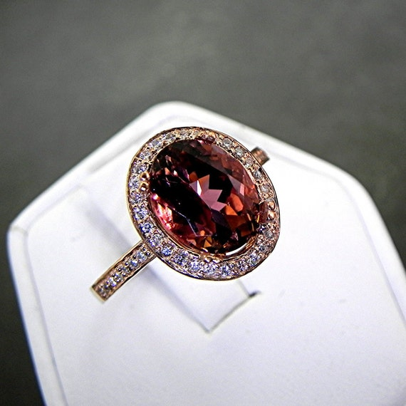 AAAA Watermelon Tourmaline 2.96 Carats 10 X 8m. in a 14k ROSE gold ring with diamonds (.32ct) Ring 1132