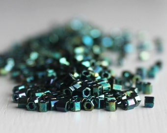 20g High Metalic Blue Green Iris Hexagon Size 8 TOHO Seed Beads