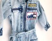 Vintage boys acid wash denim romper 3t 2t junior trucker outfit