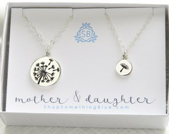 Mother and Daughter Dandelion Necklaces • Silver Dandelion Charm • Mother's Day Gift • Wish Necklaces •
