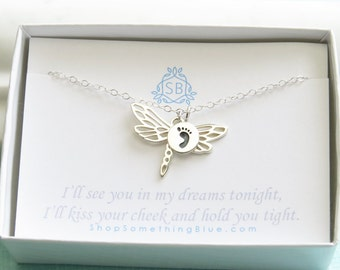 Miscarriage necklace etsy miscarriage necklace dragonfly and baby footprint remembrance gift sympathy gift miscarriage jewelry aloadofball Choice Image