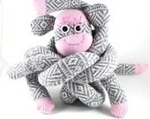 SALE* XL Sock Monkey CORMAC : winter, warm, pink, grey, white, pattern, handmade plush sock toy softie.
