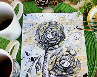 Lucid Roses original pen and ink drawing and Tea Painting