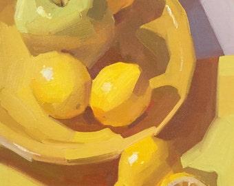"""fruit art painting lemons """"Purple Arrow"""" original by Sarah Sedwick 8x10"""""""