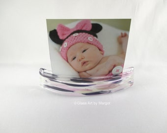 Note & Photo Curve Holder Display Stand Clear Purple Pink White Fused Art Glass