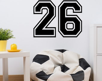 Number Wall Decal - Sport Theme Room - Childrens Room Decor - Vinyl wall decal vinyl lettering kid room decor