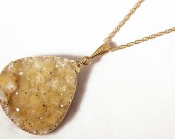 Chunky Citrine Druzy Gold Gemstone Pendant One of a Kind Crystal Raw Stone Pendant CIT-P-101-022g