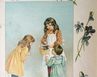 Original Antique Victorian Print,  Illustration, 1890's, Children Opening Gift Basket w Kitten Inside,  A Present for Somebody Nursery Decor