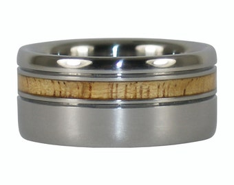 Mango Offset Inlay Titanium Ring