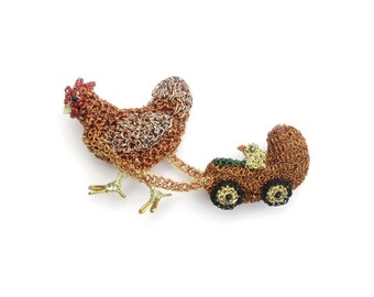 Chicken and chick brooch - bird brooch, farm animal, hen and chick, cute brooch, double brooch, nature jewelry, handmade one of a kind