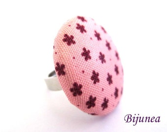 Pink flower ring - Flower ring - Pink flowers adjustable ring - Flowers ring r941