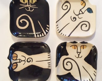Ceramic cat pottery dish set 4: HM by potter unique gift black white functional stacking plate whimsical collectible cat lover kitty feeder
