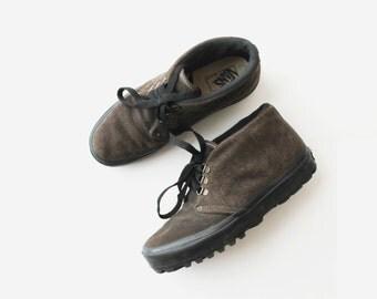 SALE - 1990's VANS USA Chukka Brown Suede Hi Top Sneakers