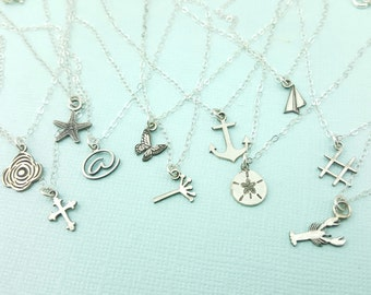 Stocking Stuffer - Gift - Anchor Jewelry - Cross Jewelry -  Tiny Charm Necklace - Paper Airplane - Starfish - Dandelion Fluff - Hashtag