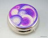 Pill Box in Violet Purple Polymer Clay Filigree
