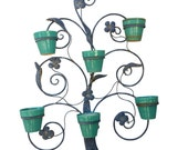 1920s Hanging Plant Stand with Original Pottery Flower Pots