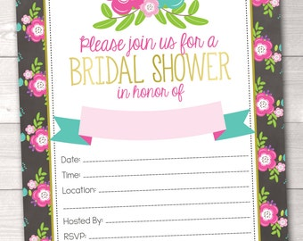 Printable Bridal Shower Invitations with Pink & Blue Flowers PDF Digital Download