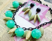 NEW! Mid Century Marvellous Turquoise atomic handmade 1940s 50s vintage inspired necklace and earrings set by Luxulite
