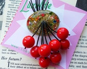 Colour pop! - 1940s 50s confetti lucite style novelty red cherry brooch by Luxulite