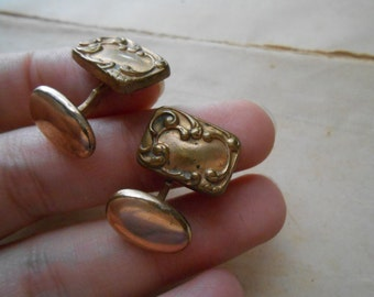 victorian art nouveau repousse gold filled cuff links - dapper gentlemen fathers day gift - antique jewelry
