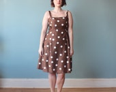 plus size dress / brown polka dot party dress / 1990s / XL