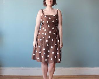 plus size dress / brown polka dot party dress / 1990s / XL