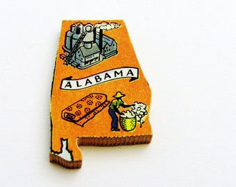 1960s Alabama Brooch - Pin / Unique Wearable History Gift Idea / Upcycled Vintage Hand Cut Wood Jewelry / Timeless Gift Under 25
