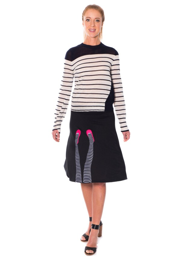 Women Cute Skirts, Womens skirts, Midi skirt, Black a line skirt, Handmade Applique Black Knee Length A line Skirt -Legs on the wall