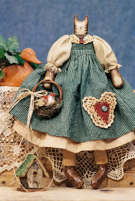 Mailed Cloth Doll Pattern 17in FolkArt Country Girl Cat