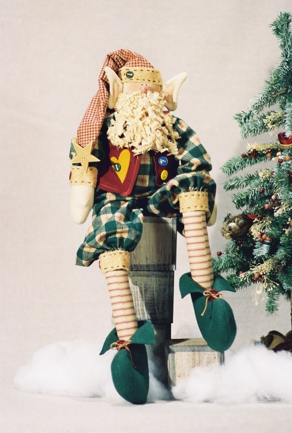 Mailed Cloth Doll Pattern - Cute 25in Christmas Holiday Elf