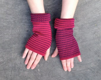 Arm Warmers Fingerless Gloves Fuchsia Mittens Merino Wool Striped Gloves Mitaines en Laine Merinowolle Armstulpen