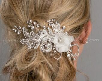 Bridal Lace Hair Comb, Rhinestone Headpiece, Wedding Flower Hair Clip - Charlize