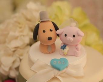 pig  and dog Wedding Cake Topper---k872