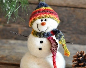 Snowman - handmade - needle felted- one of a kind -  732